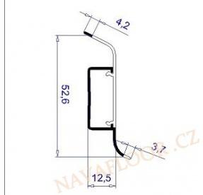 Soklová lišta FATRA 52x12mm L0038 plastová s kabelovým kanálem délka 2,5m / cena za bm